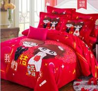 rote königin größe tröster set großhandel-3D chinesische Puppe Baumwolle rot Hochzeit Schleifen Bettdecken Bettwäsche Sets König Königin Größe Tröster Set Bettwäsche Quilt Bettbezug Bettwäsche