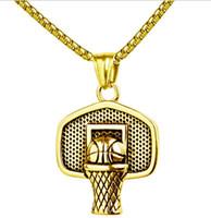 ingrosso catena d'oro di pallacanestro-Hip Hop Iced Out Oro placcato Mini Mini Basketball Rim Collana pendente Collane a catena lunga Gioielli da uomo Oro argento 2 Colori Moda