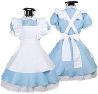 tons de bande dessinée achat en gros de-Meilleures filles japonaises fantaisies Alice au pays des merveilles fantaisie bleu ton clair Lolita Maid tenue costume de femme de chambre robe de bonne BY0401