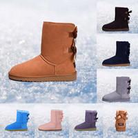 botas de rodilla para mujer al por mayor-Original UGG WGG Australia Clásico de invierno mujer botas castaño negro rosa diseñador para mujer botas de nieve tobillo rodilla bota tamaño 5-10 envío rápido