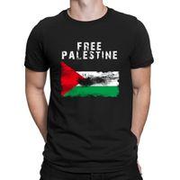fotos de punto al por mayor-Fotos de camisetas de Palestina gratis de punto traje cómico Camiseta de hombre de primavera lema de primavera cuello redondo gráfico
