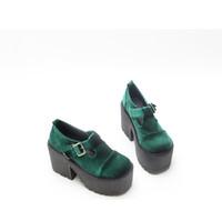 зеленые платформы пятки оптовых-Шелковый красный зеленый Chunkey каблук туфли на платформе супер высокий каблук Обувь женщины Мартин пряжки лодыжки девушки водонепроницаемый платформы лифт один обувь