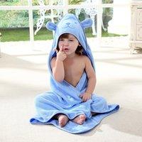 çizgi film bornozu toptan satış-Çocuklar Banyo Havlusu Toddler% 100% Pamuk Bornoz Bebek Erkek Kız Hayvan Kapşonlu Banyo Havlusu Çocuk Karikatür Yüzme Plaj
