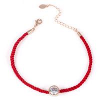 forro rojo al por mayor-Nueva Moda Red Cord Thread String Line Cuerda Cuerda de Cristal Pulseras del encanto para Las Mujeres Joyería de Moda