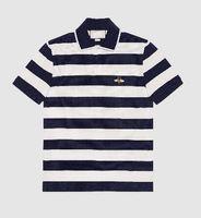 c0fbf556e Homens de comércio Pólo Camisa de Manga Curta Lapela Italiana Algodão Polos  Camisas Listrado Vermelho Com Abelha Bordado Primavera Azul Marinho
