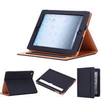 Wholesale leather folio case for ipad online - For iPad Black Tan Leather Wallet Stand Flip Case Smart Cover With Card Slots for iPad Air Pro Air2 Mini Mini4