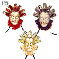 masque joyeux achat en gros de-3 Couleurs Jester Masque Jolly avec Collier Pour Femmes Mardi Gras Mur Décor Veneice Masque Avec Cloche Pour Halloween / Chrismas Prom Partie