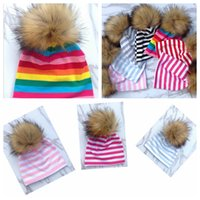 Wholesale Baby Fall Hat - 7 Colors Baby Hats Children Winter Fur Pompoms Ball Newborn Baby Warm Beanies Cap Kids Knitted Pompom Hat Xmas Gifts for Baby YYA970