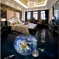 Wholesale photo paper free shipping online - waterproof flooring Earth D bathroom living room bedroom floor custom self adhesive lobby photo wallpaper