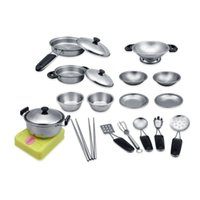 Discount kids playing kitchen sets - Stainless Steel Pots and Pans Pretend Play Kitchen Set For Kids Super Durable Cookware Playset 18pcs
