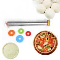 Wholesale pizza dough for sale - Stainless Steel Rolling Pin Adjustable Spacers Discs Non Stick Thickness Removable Rings Dough Roller Baking Pizza Noodles Tool DDA639
