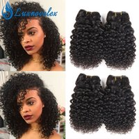 Wholesale Short Curly Hair Weave - Brazilian Virgin Hair Jerry Curly 4 Bundles Short Human Hair Weave Bundles Curly Hair Extensions 8-10 Inch 50g Bundle Natural Color
