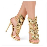 ala del zapato rojo al por mayor-Venta caliente Golden Wings Leaf Strappy Dress Sandal Silver Gold Red Gladiator High Heels Shoes Mujeres Metallic Winged Sandals