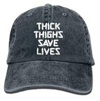 Wholesale black save - Baseball Cap For Men Women,Thick Thighs Save Lives Unisex Adult Adjustable Denim Dad Cap