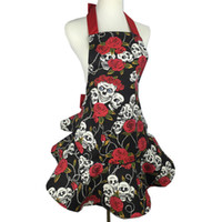 Wholesale pinafore dresses online - Fashion Rose Skull Apron Canvas Pinafore Lady Kitchen Baking Cooking Aprons For Cosplay Masquerade Women Dress Up Decoration dj C RZ