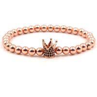 pulsera de macramé cz al por mayor-Pulseras de circonio CZ Cubic Micro Pave Corona imperial Charm Bracelet Macrame trenzado pulseira feminina Pulsera de cuentas de cobre