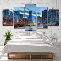 beaux tableaux achat en gros de-Toile Mur Art Images Décor À La Maison 5 Pièces Chicago City Night Voir Peintures HD Imprime Beautiful River City Building Affiches