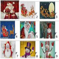 Christmas Shower Curtain Santa Claus Snowman Waterproof 3D Printed Bathroom Shower Curtain Decoration 165*180cm With Hooks