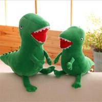 ingrosso divertenti animali farciti-Morbidi giocattoli divertenti bambini dinosauro verde peluche bambola giocattolo novità animali di peluche cartone animato per la festa di compleanno regalo 8xl BB
