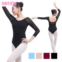 Wholesale latest women costume for sale - Latest black girls adult sleeve mesh sexy gymnastics dance leotards women ballet costumes with V back