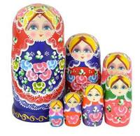 rus bebek setleri toptan satış-Güzel 7 adet / 1 Takım Sevimli Yerleştirme Bebekler Matruşka Rus Doll Ahşap Dileğiyle Bebekler Oyuncak Ücretsiz Kargo Yüksek Kalite