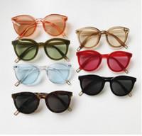 transparent nackt großhandel-Südkorea-blaues Seelegan Quan Zhixian in der gleichen Sonnenbrille runden Kasten zeigen dünne transparente Gelee-Pudernackte Frauensonnenbrille