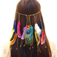 accesorios para el cabello indio al por mayor-Venda india de la pluma, Accesorios del pelo de Auniquestyle Festival Mujeres Tocado ajustable hippie Boho Peacock Feather Hair Band Bohemia