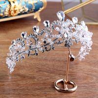 alta joyería barroca al por mayor-Barroco Retro High-end Bride Crown Jewelry Boutique Tiara hecho a mano Crystal Wedding Hair Headdress venta al por mayor