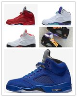 Wholesale viscose polyester suit - new 5s Classic 5 flight suit red blue suede white cement grape Basketball Sports Shoes sneakers for men women