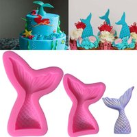 Wholesale bake tools - Mermaid Shaped Mould Pink Silicone Mold for Cake Chocolate Baking Candy Maker DIY Cake Soaps Kitchen Tools Bakeware WX9-457
