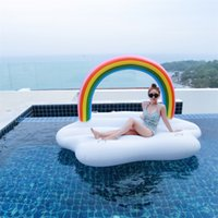 Wholesale floating bridge - Colorful Rainbow Arch Inflatable Pool Floats Rainbows Bridge Floating Bed Pad For Summer Beach Flaky Clouds Swimming Ring 91yn X