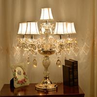 cogumelo lâmpada de mesa branco venda por atacado-Candeeiro de mesa de cabeceira lâmpadas de mesa de cristal para o quarto de luxo candeeiro de mesa de cristal americano K9 lâmpada de cristal de luxo decoração