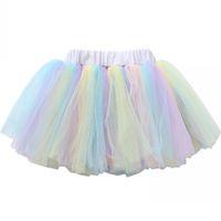 ingrosso ballerine di prua-New Cute Little Girls Layered Costume Kit Tulle Skirt Kids Rainbow ballerina Tutu gonna danza arco Soft Rainbow Baby Unicorn Tutu