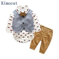 ingrosso abbigliamento formale del neonato-Kimocat Newborn Baby Boy Clothes Set compleanno battesimo panno neonato Baby Boys abiti da sposa formale Suit Vest + T-shirt + pantaloni