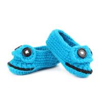 Wholesale handmade baby booties - Cheap Cartoon Buckle Knitting Handmade Crochet Booties Baby Boy Shoes 10 cm