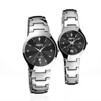 мужские женские часы комплект оптовых-2017 2pcs/set Lovers Watches Men and Women 1 Pair  Single Calendar Quartz Stainless Steel Date Wrist Watches