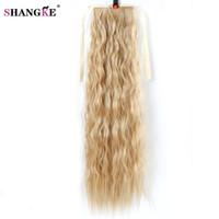 ingrosso capelli neri rossi-SHANGKE Hair 22 '' Coda di cavallo riccia lunga per capelli neri vino rosso resistente al calore sintetico pezzi finti
