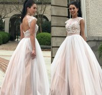 Wholesale romantic shorts for sale - 2018 Romantic Tulle Prom Dresses Jewel Short Sleeves Lace Applique Floor Length Evening Dresses Prom Gowns