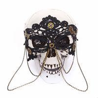 carnaval masques pour les yeux noirs achat en gros de-Retro Steampunk Dentelle Noire Chaînes Masque Pour Les Yeux Masques De Fête Pour La Mascarade Halloween Costumes Vénitiens Carnaval Engrenages Masque Gothique