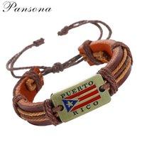 Wholesale Vintage Pearl Clasps Wholesale - Vintage Punk Design Black Genuine Leather Bracelets For Women Men Wristband Puerto Rico Charms Bracelet Jewelry PU27