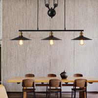 Vintage Luminaire Suspendu Luminaires De Cuisine Style Loft Hanglamp Poulie Lampe Retro Noir Metal Lampe Suspension Industrielle Luminaria
