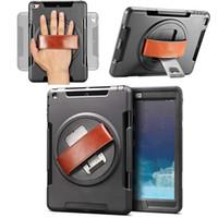 caso mini ipad para a mão venda por atacado-2018 para ipad pro 10.5 9.7 para ipad air 2 mini 4 kickstand 360 graus rotable tote mão cinta à prova de choque case