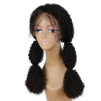 Wholesale full laced wigs for sale - Group buy Human Virgin Remy Brazilian Soft Hair Lace Front Full Lace Kinky Curly Wigs Desnity Natural Black Color For Women