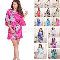 Wholesale wedding robes online - 14 Colors Silk Satin Floral Robe Women Kimono Short Sleepwear Print Wedding Bride Bridesmaid Silk stain Floral Bathrobe AAA588