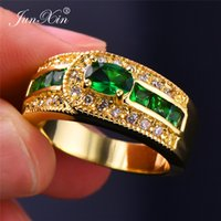 yellow stone jewelry sets 2018 - Charm Male Female Big Green Stone Ring High Quality 18KT Yellow Gold Jewelry Vintage Wedding Engagement Rings For Men And Women