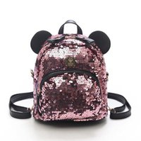 Wholesale wool knit ties for men resale online - PU Sequins Women Backpacks School Bags for Girls Princess Bling Small Backpacks New Mini Backpack Mickey Minne Mochila sac a dos