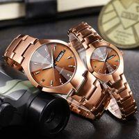 Wholesale women tungsten watch - Hot Men Watch Tungsten Steel Lovers Rose Women Couple Watches Chinese-English Calendar Quartz Clock Waterproof Watch Gifts Wholesale