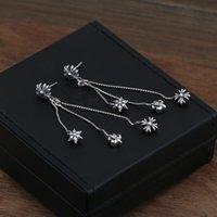 püskül küpeleri toptan satış-Yepyeni 925 gümüş bağbozumu Amerikan takı antika gümüş el yapımı tasarımcı püsküllü kadınlar için damızlık küpe haçlar