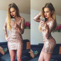 Wholesale red rose cocktail dress - Hot Sell Rose Gold Sequins Mini Short Cocktail Dresses 2018 Sheath Long Sleeves Prom Gowns Cheap
