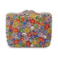 Wholesale side clutch chain bags resale online - New Sophisticat Crystals Evening Bag Rhinestone Clasp Women Clutch Handbag Chain Full Side Diamonds Wallet Party Purse